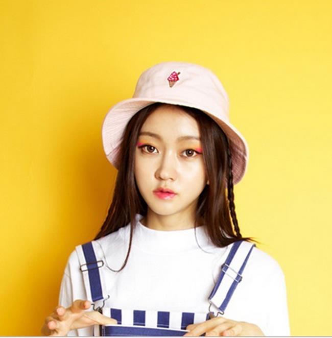 50^%OFF~E07837FH~韓國正品 15 復古原宿霜淇淋甜筒刺繡漁夫帽遮陽帽
