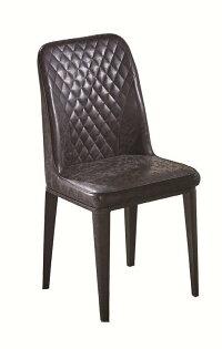 【石川家居】JF-485-13格林黑菱格皮鐵藝餐椅(單只)(不含其他商品)台北到高雄搭配車趟免運