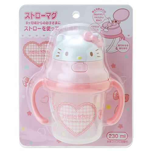日本 Skater Hello Kitty 雙手握把吸管學習杯 兒童水杯 230ml *夏日微風*