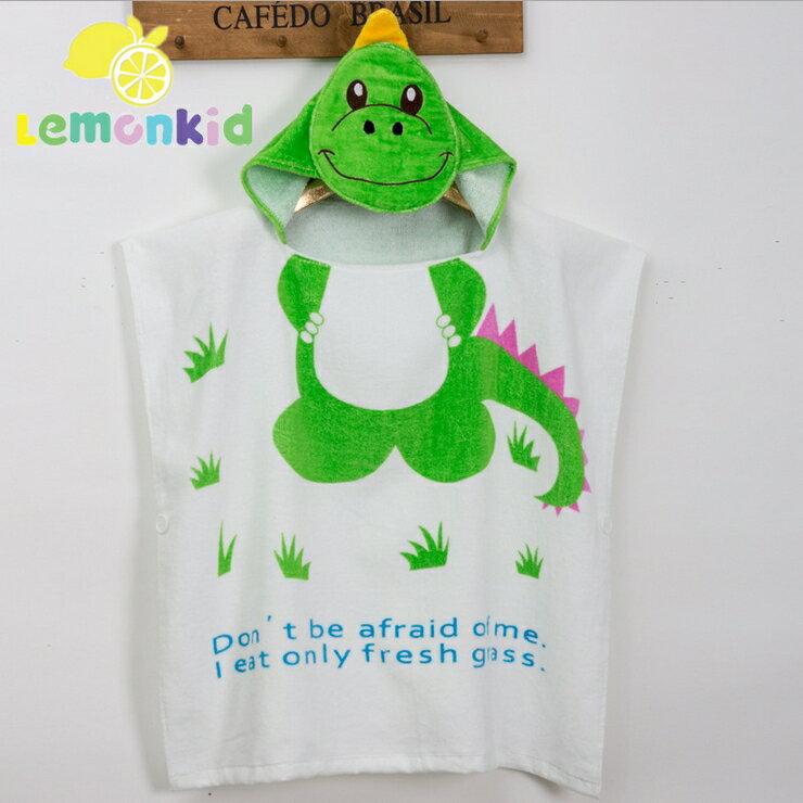 Lemonkid檸檬寶寶◆可愛卡通造型吸水柔軟全棉寬大舒適兒童嬰兒蓋毯浴巾浴袍60cm*120cm-綠色恐龍