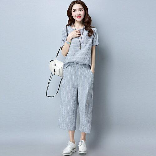 休閒時尚條紋短袖寬鬆七分褲兩件套(4色M~3XL)【OREAD】 3