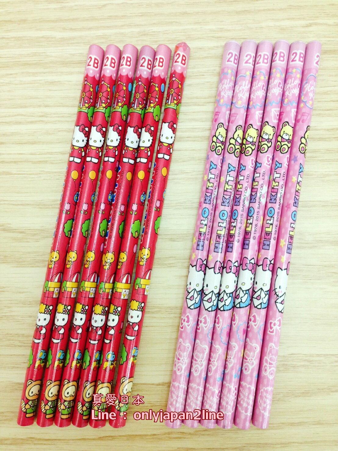 【真愛日本】16052700008KT塗頭三角木頭鉛筆6入-兩款   三麗鷗 Hello Kitty 凱蒂貓   鉛筆  文具用品