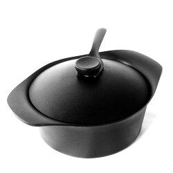 (附蓋+叉) 日本製 柳宗理 Sori Yanagi 南部鐵器 22CM 雙耳深鍋 附鑄鐵鍋蓋+叉-3.5L