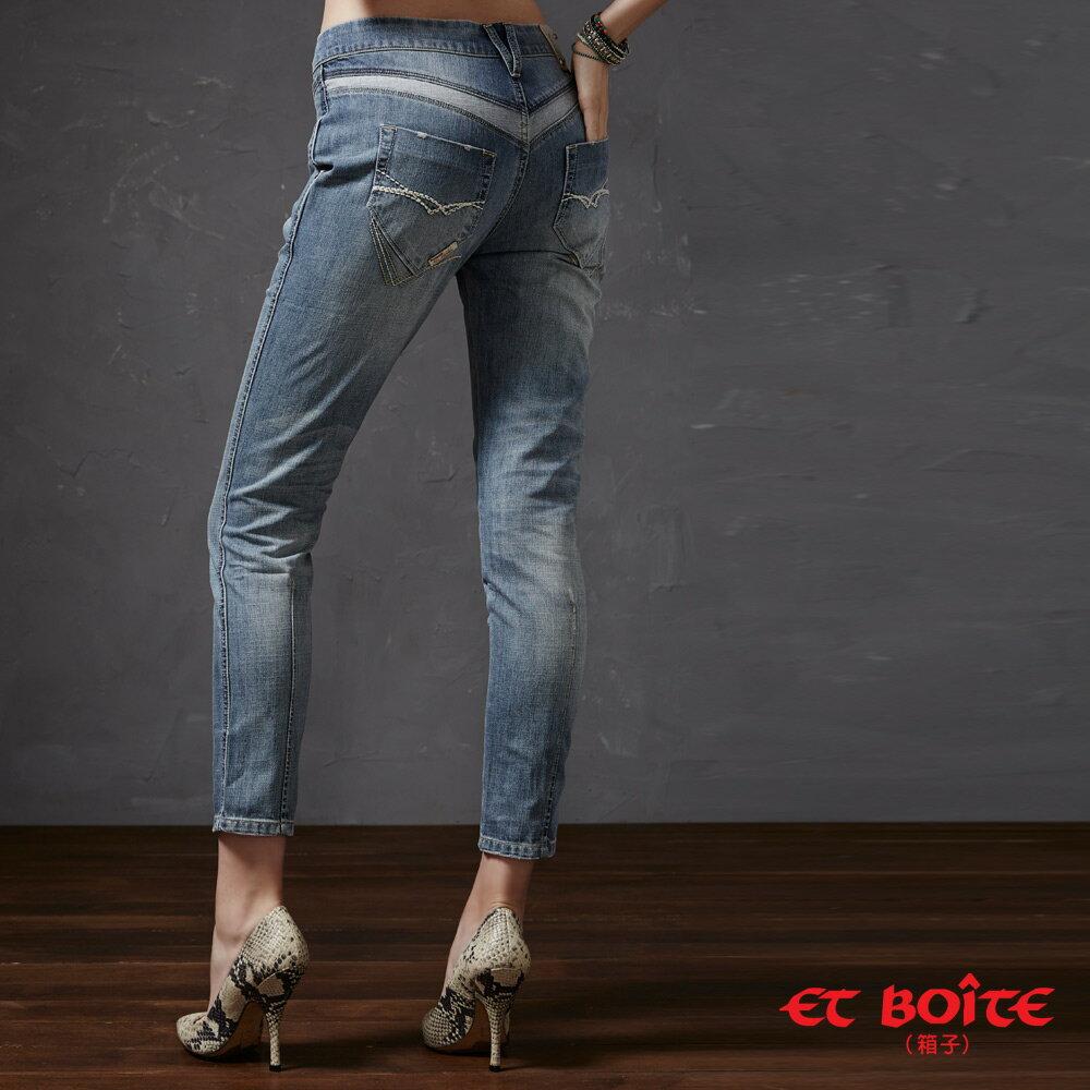 【限時5折↘全館滿千折百 輸入代碼滿$888再折$100】ET BOiTE 箱子  深V 立體錐形牛仔褲 Sexy Tapered Boyfriend Pants 1