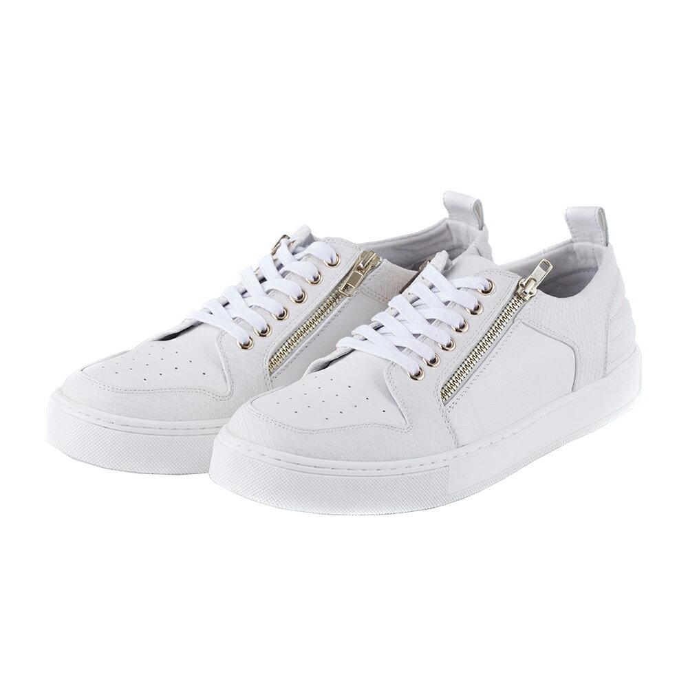 2MUCH拉鍊裝飾牛皮 鞋~白色 40~43
