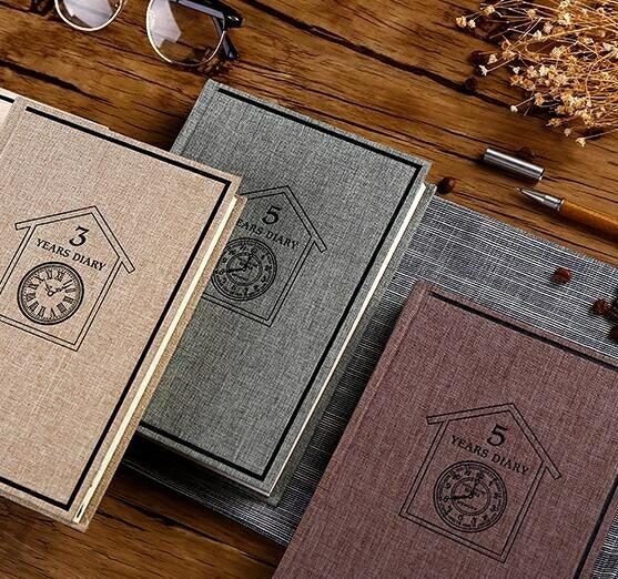 限時熱賣記事本佳三年五年人生日記本 創意硬面抄本子復古筆記本文具厚 筆記本子