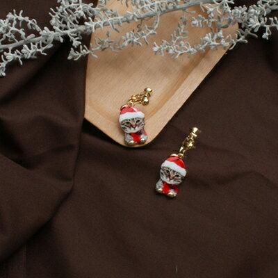 (預購+現貨)聖誕小貓咪夾式針式耳環(螺旋夾)【2-17054】
