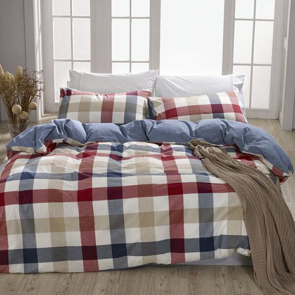 床包薄被套組雙人加大色織水洗棉英格蘭[鴻宇]台灣製2115