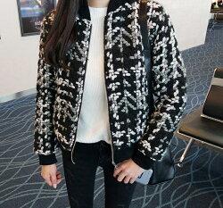 一個女孩的衣櫥--韓國東大門-韓版小香風棒球毛呢立體編織鋪棉外套