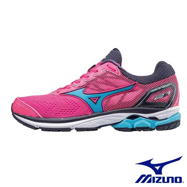 【MIZUNO促銷8折│全店免運】MIZUNO(女)WAVERIDER21一般型女慢跑鞋桃紅x藍-J1GD180323