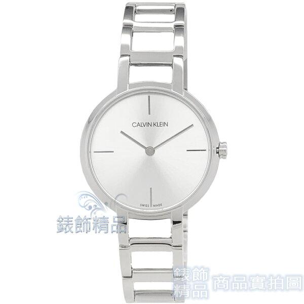 【錶飾精品】CK手錶K8N23146高雅時尚銀白面鏤空錶帶女錶CalvinKlein