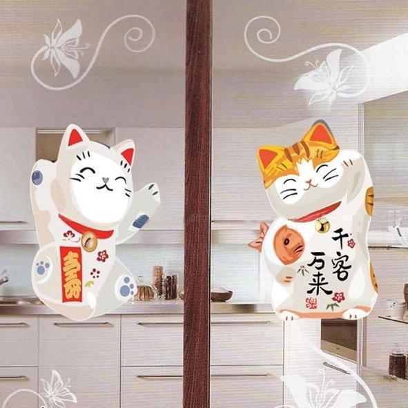 BO雜貨【YV0520】璧貼 招財貓 創意無痕壁貼 貓壁貼 牆貼 背景貼 兒童房佈置設計 壁貼貓