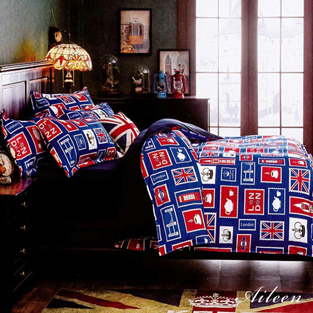 柔絲絨 被套床包組 雙人四件式-倫敦印象 / 哇哇購