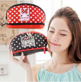 【Disney】可愛撞色雙層收納化妝包-米妮