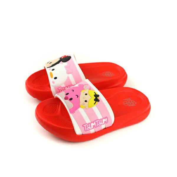 Disney迪士尼TSUMTSUM拖鞋防水紅色中童D418302no108
