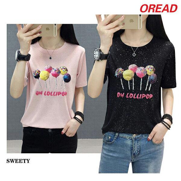 *ORead* 寬鬆亮絲釘珠T恤(3色M~2XL) 0