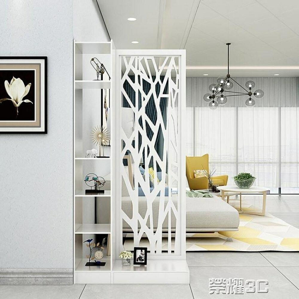 屏風 客廳屏風玄關櫃櫥窗雕花隔斷歐式現代白色門廳櫃間廳櫃置物儲物櫃 榮耀3c 1
