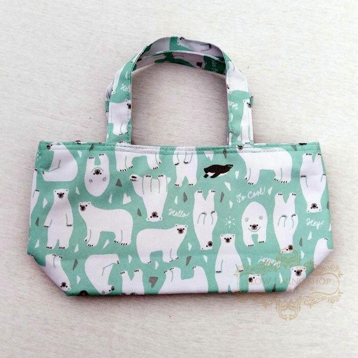 日本進口 (小北極熊-藍) H15CM 保冷袋 保溫袋 便當袋 野餐 露營 手提袋
