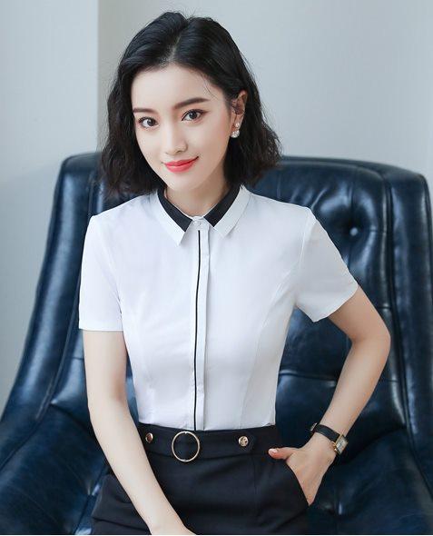 女白襯衫夏季短袖(白衣拼接黑領)免燙襯衫wcps122