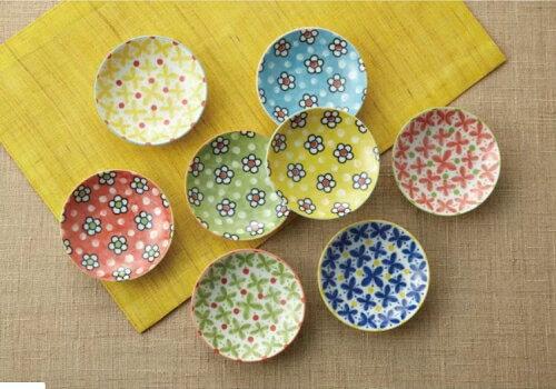 Moka/  繽彩小花食皿小盤8件組   美濃燒  木盒裝祝賀禮