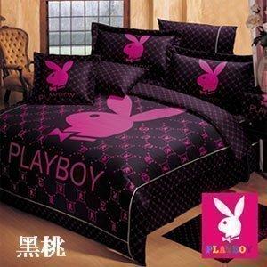 今日我最殺~免運費~嫁妝寢具-(PLAYBOY)經典時尚-七件式純棉兩用被床罩組.賭聖-黑桃/5x6.2/原價9800元