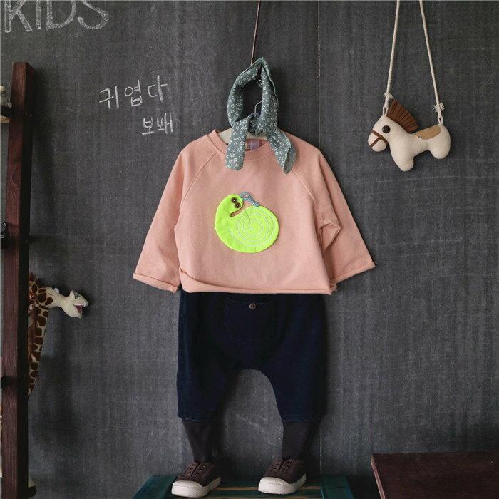 韓國秋新款 男女童卡通蝸牛纯棉上衣**粉色***