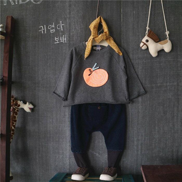 韓國秋新款 男女童卡通蝸牛纯棉上衣**深灰色***