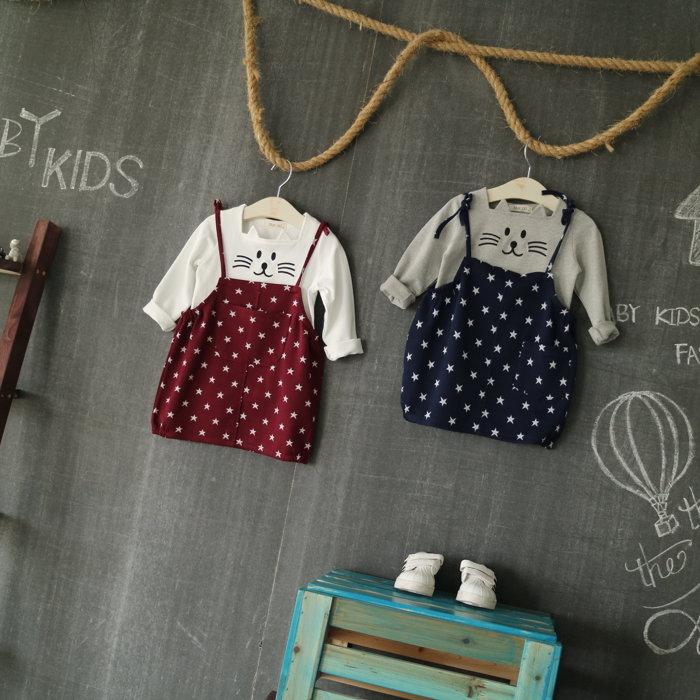 韓國童裝 秋新款女童纯棉卡通印花吊帶裙 正反可穿童裙**藍星星**