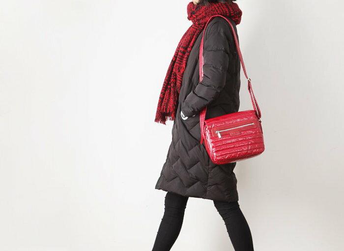 秋冬新款 中高端糖果色菱形格羽绒服料太空棉加厚單肩包 斜挎包( 紅色 )