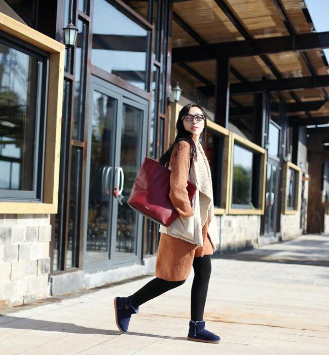 歐美外單中高端時尚印花女包手提單肩包 大號(酒紅色)
