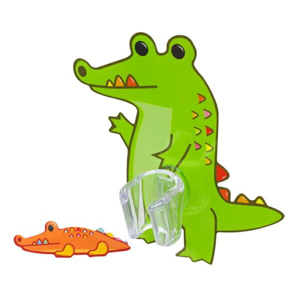 【黏樂趣NELO】多用途卡通造形蓮蓬頭座架重複貼掛勾組(鱷魚)