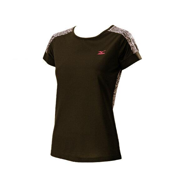 32TA620109(黑)奧運記錄高級昇華印刷設計女短袖T恤 【美津濃MIZUNO】