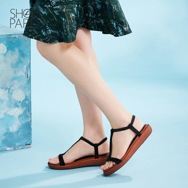 【S2-17623L】Simple+久走不累亮晶晶T字涼鞋_Shoes Party 2