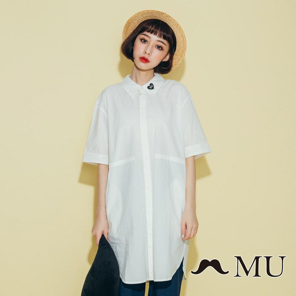 【MU】領子愛心刺繡長版襯衫(2色)8323263 3