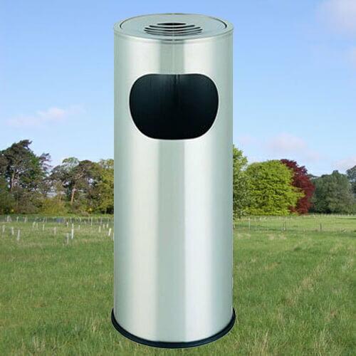 【企隆 圍欄 飯店用品】 煙灰 垃圾桶 置物 收納 回收 C25 不銹鋼圓形煙灰垃圾桶
