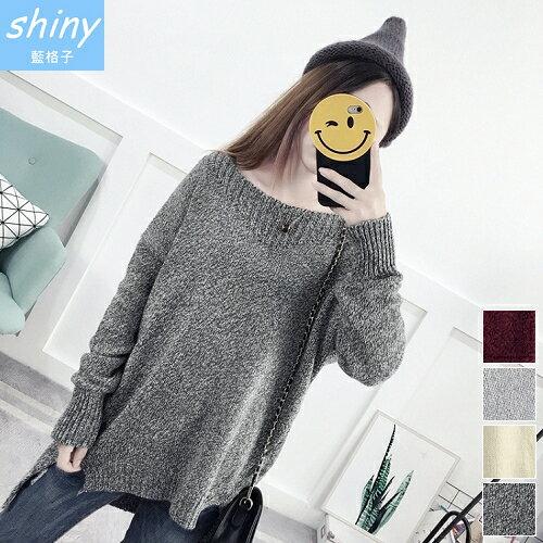 shiny藍格子:【V2053】shiny藍格子-唯美冬情.前短後長側開叉毛衣長袖上衣