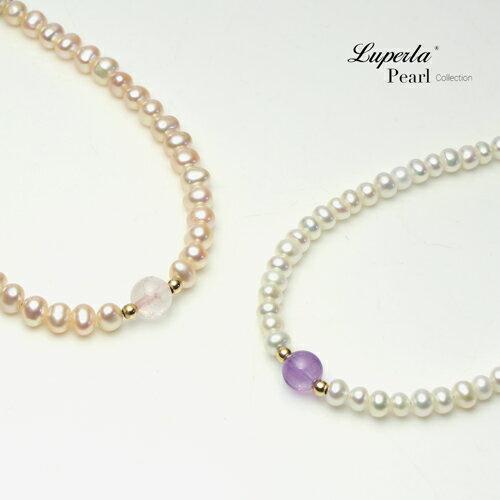 大東山珠寶 氣質婉約 紫水晶珍珠14K手鍊 氣質白 2