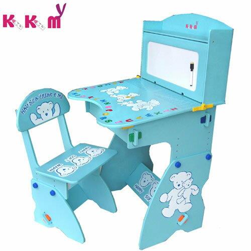 TheLife 樂生活:【kikimmy】兒童升降成長學習桌椅組-天空藍(BJ0029B)