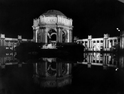 Panama-Pacific Exposition Nthe Dome Of The Palace Of Fine Arts At Night From Across The Fine Arts Lagoon At The Panama-Pacific Exposition In San Francisco California Photograph 1915 Rolled Canvas Art 1717a9a5357d2e0adac2a6b00f5d212b