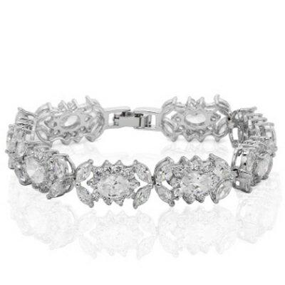 ~純銀手鍊 鍍白金鑲鑽手環~ 閃要特別 生日情人節 女飾品73cv31~ ~~米蘭 ~