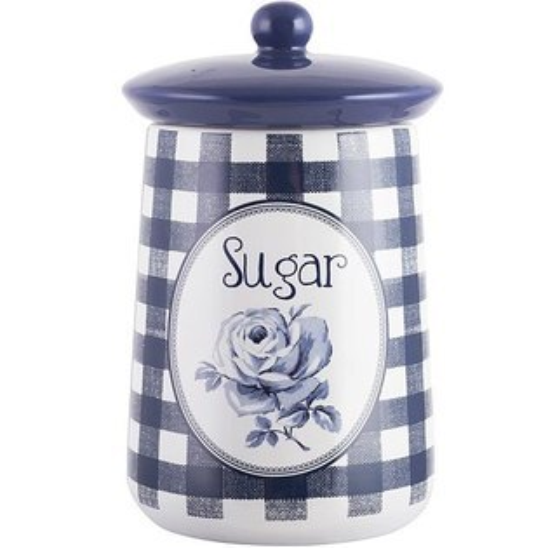 《CreativeTops》Katie復古藍糖陶製密封罐(藍格)
