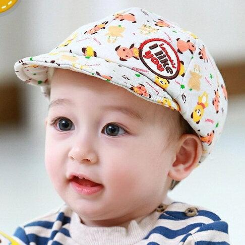 Lemonkid◆可愛滿版pp小熊字母刺繡貼標兒童舒適棉質鴨舌帽-灰色