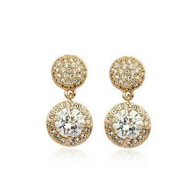 玫瑰金耳環925純銀鑲鑽耳飾~ 迷人高貴大方情人節生日 女飾品2色73gs219~ ~~米