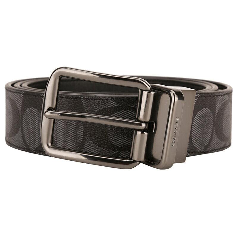 COACH 男士炭灰色PVC腰帶皮帶 F64839 0
