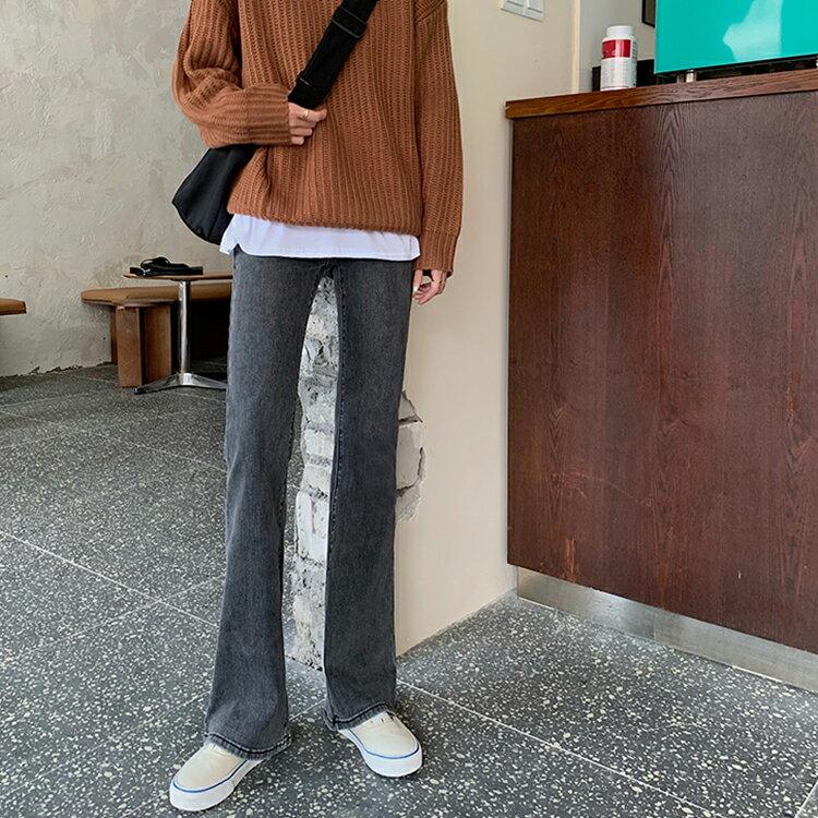 實拍實價韓版chic復古高腰顯瘦彈力牛仔喇叭長褲