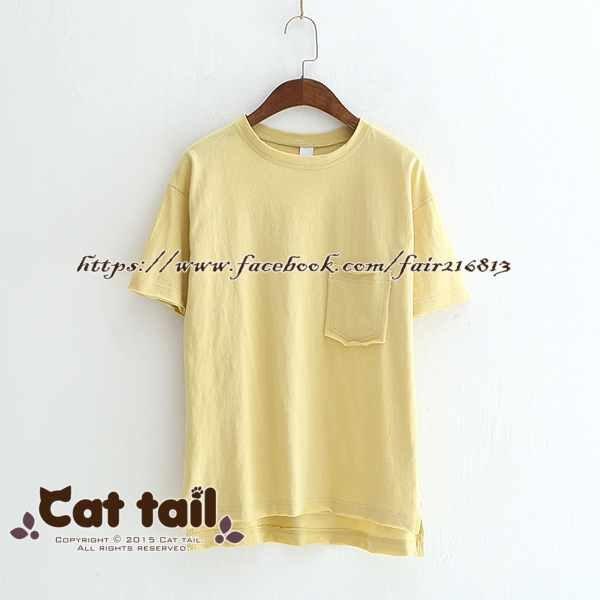 《貓尾巴》LZ-03155簡約休閒純色短袖上衣(森林系日系棉麻文青清新)