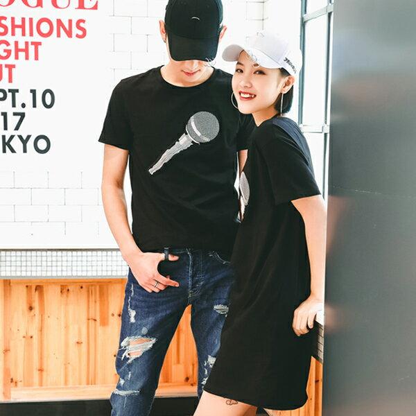 T恤 情侶裝 客製化 MIT台灣製純棉短T 班服◆快速出貨◆獨家配對情侶裝.麥克風【YC581】可單買.艾咪E舖 1
