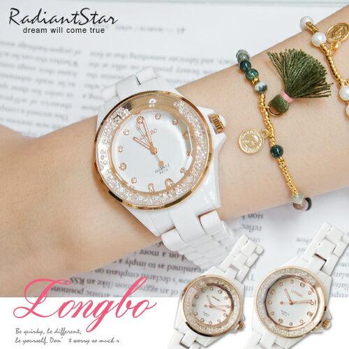 韓國LONGBO耀眼星鑽流金歲月冰砂仿陶瓷涼感鍊帶錶【WLO8674】璀璨之星☆