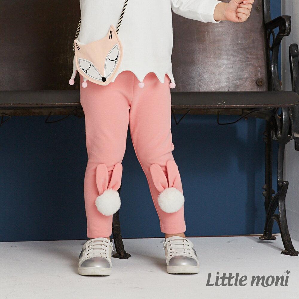 Little moni 立體毛球兔耳造型合身褲-粉紅 1