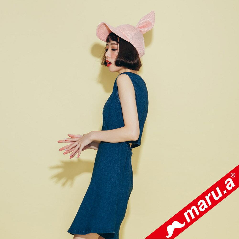 【maru.a】小飛象文字刺繡牛仔單寧洋裝(2色)8317117 4